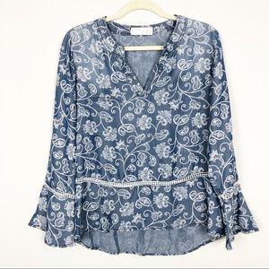 Chambray floral paisley peplum blouse NWT
